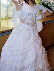 Продам свадебное платье,  р-р 42-46,  атласное